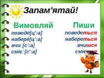 Запам'ятай! Вимовляй поведé[ц':а] наберé[ц':а] вчи [с':а] сміє [с':а] Пиши по...