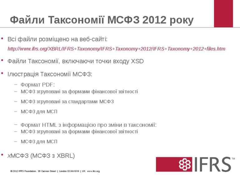 Файли Таксономії МСФЗ 2012 року Всі файли розміщено на веб-сайті: http://www....