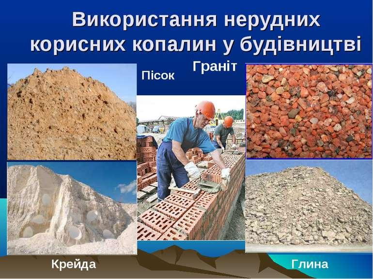Використання нерудних корисних копалин у будівництві Пісок Глина Крейда Граніт