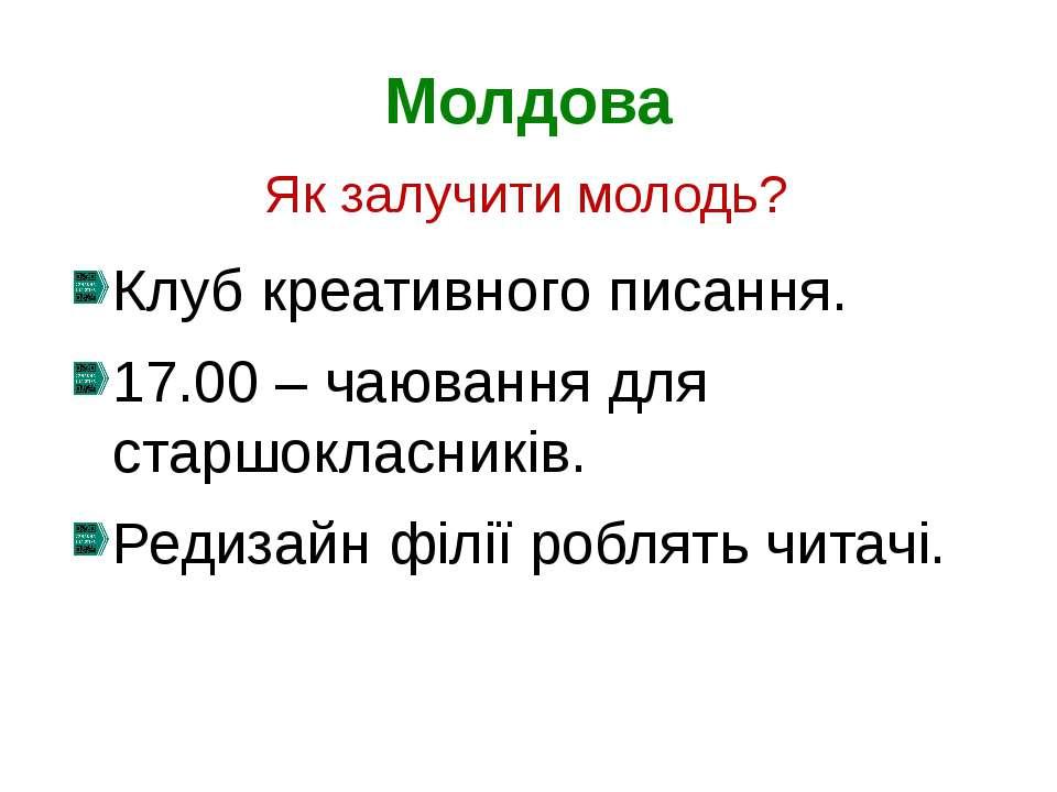 Молдова Клуб креативного писання. 17.00 – чаювання для старшокласників. Редиз...
