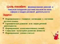 Цель пособия: формирование умений и навыков владения русским языком во всех с...