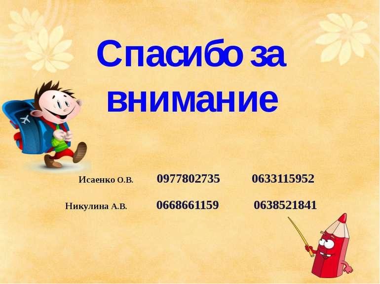 Спасибо за внимание Исаенко О.В. 0977802735 0633115952 Никулина А.В. 06686611...