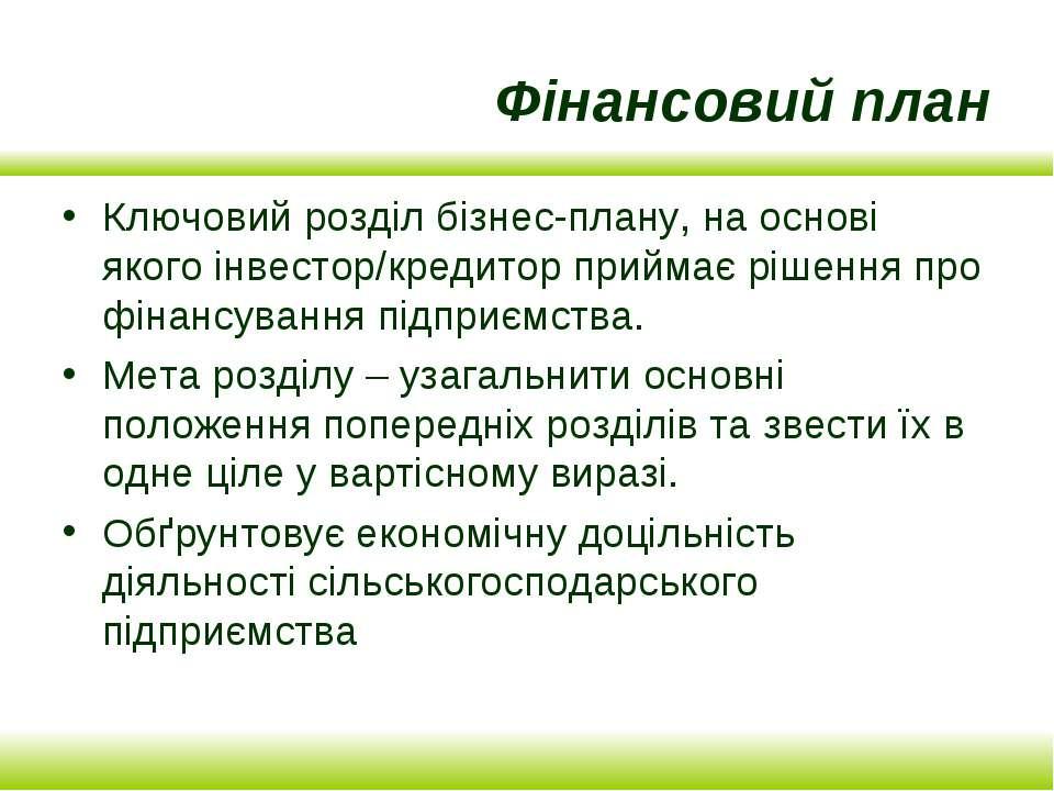 Фінансовий план Ключовий розділ бізнес-плану, на основі якого інвестор/кредит...