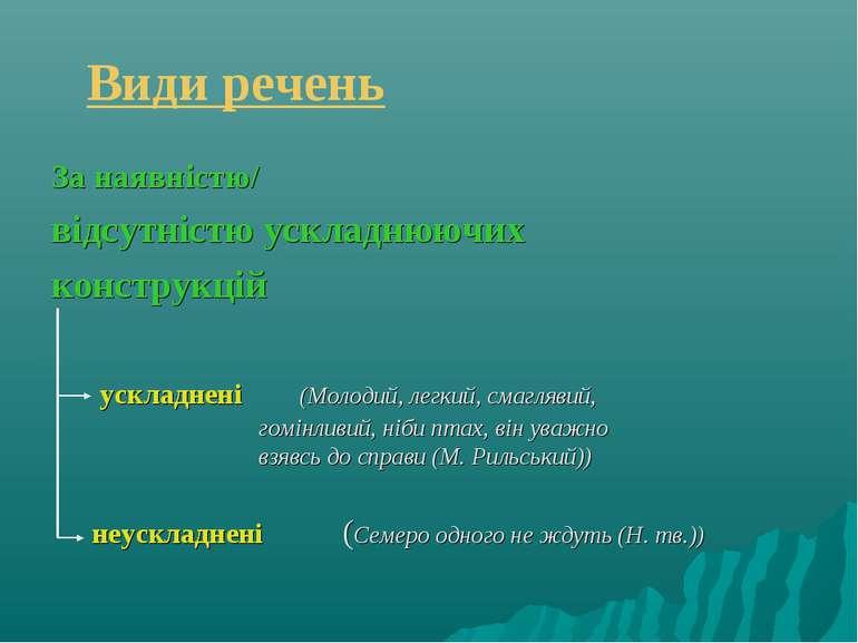 Види речень За наявністю/ відсутністю ускладнюючих конструкцій ускладнені (Мо...
