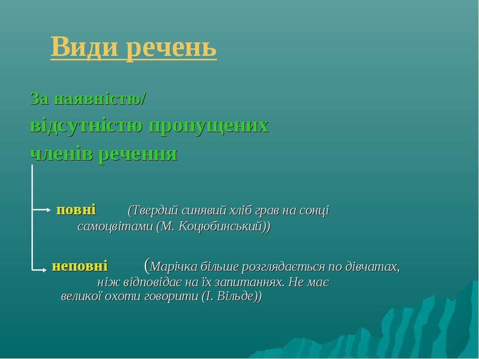 Види речень За наявністю/ відсутністю пропущених членів речення повні (Тверди...