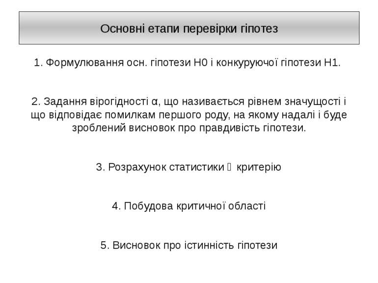 Основні етапи перевірки гіпотез 1. Формулювання осн. гіпотези H0 і конкуруючо...
