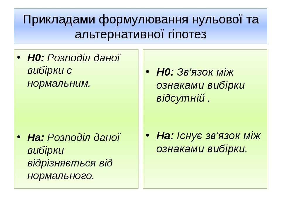 Прикладами формулювання нульової та альтернативної гіпотез Н0: Розподіл даної...