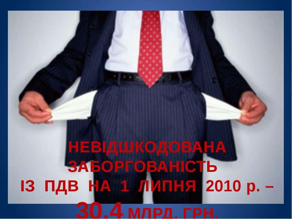 НЕВІДШКОДОВАНА ЗАБОРГОВАНІСТЬ ІЗ ПДВ НА 1 ЛИПНЯ 2010 р. – 30,4 МЛРД. ГРН.