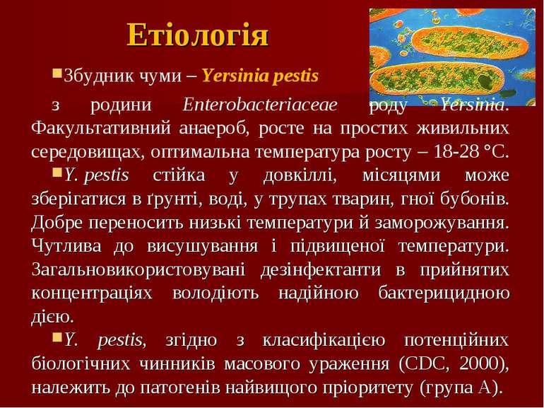 Етіологія Збудник чуми – Yersinia реstis з родини Enterobacteriaceae роду Yer...