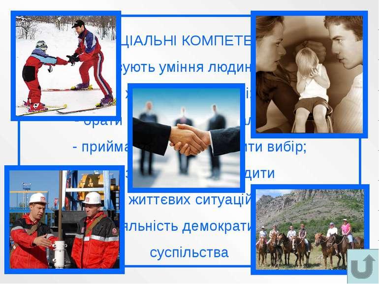 СОЦІАЛЬНІ КОМПЕТЕНЦІЇ - характеризують уміння людини повноцінно жити в суспіл...