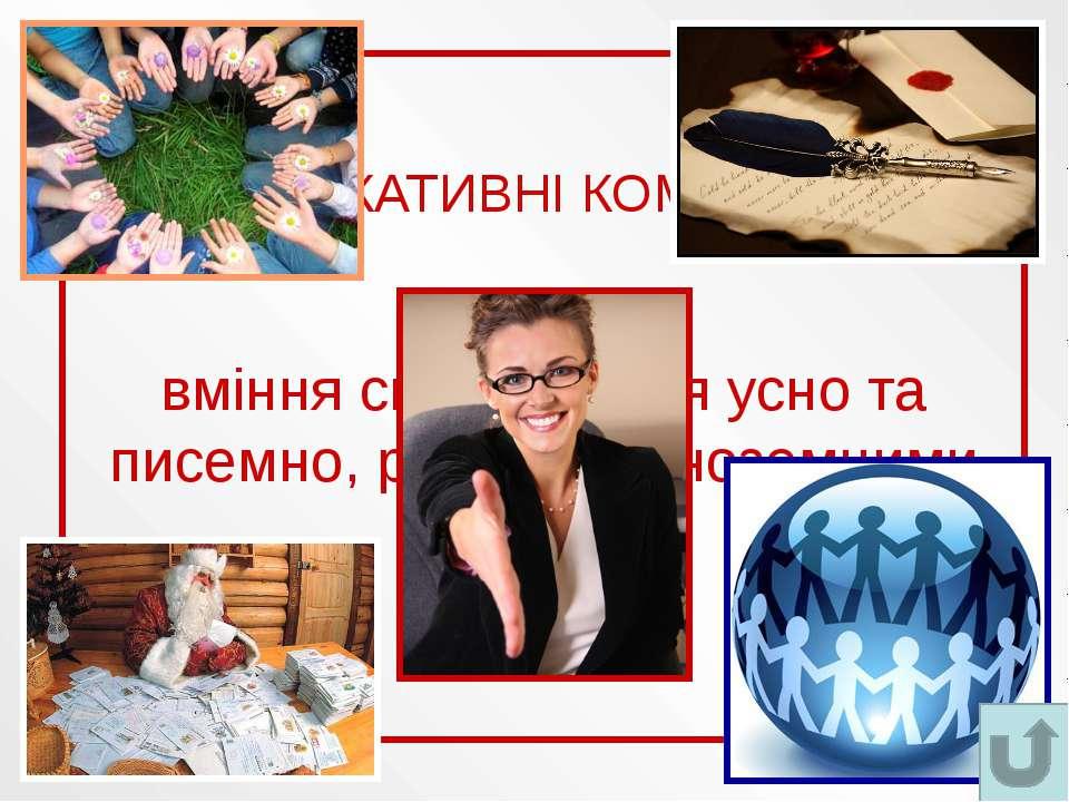 КОМУНІКАТИВНІ КОМПЕТЕНЦІЇ вміння спілкуватися усно та писемно, рідною та іноз...