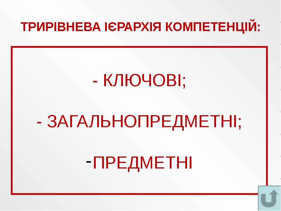 ТРИРІВНЕВА ІЄРАРХІЯ КОМПЕТЕНЦІЙ: - КЛЮЧОВІ; - ЗАГАЛЬНОПРЕДМЕТНІ; ПРЕДМЕТНІ