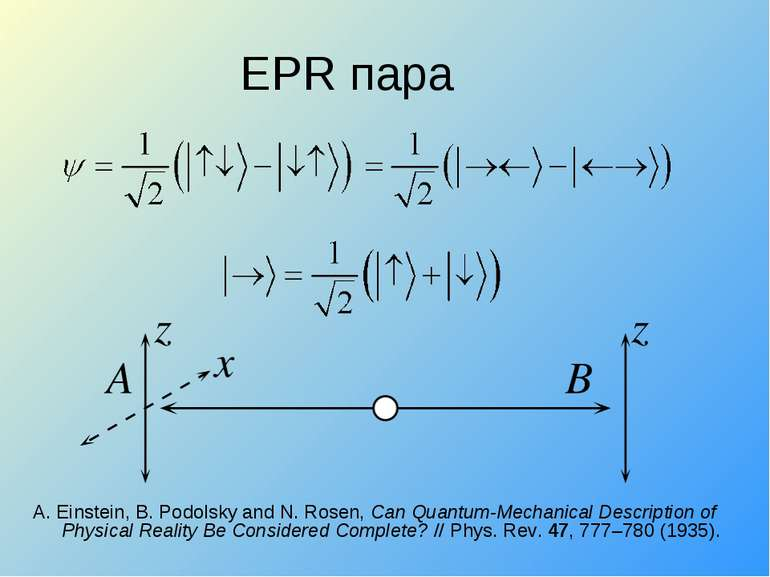 EPR пара A. Einstein, B. Podolsky and N. Rosen, Can Quantum-Mechanical Descri...