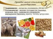 Провідні галузі сільського господарства: Тваринництво: скотарство, птахівницт...