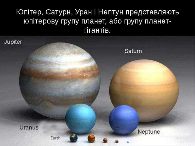 Юпітер, Сатурн, Уран і Нептун представляють юпітерову групу планет, або групу...