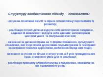 Структуру особистісного підходу становлять: - опора на позитивні якості та ві...