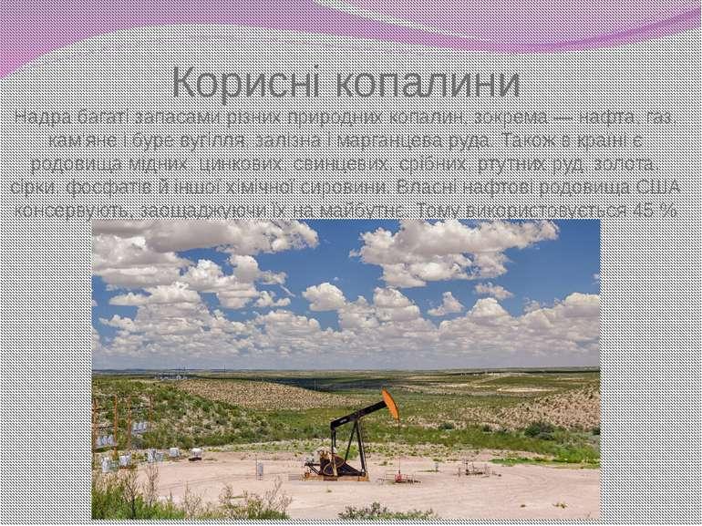 Надра багаті запасами різних природних копалин, зокрема — нафта, газ, кам'яне...