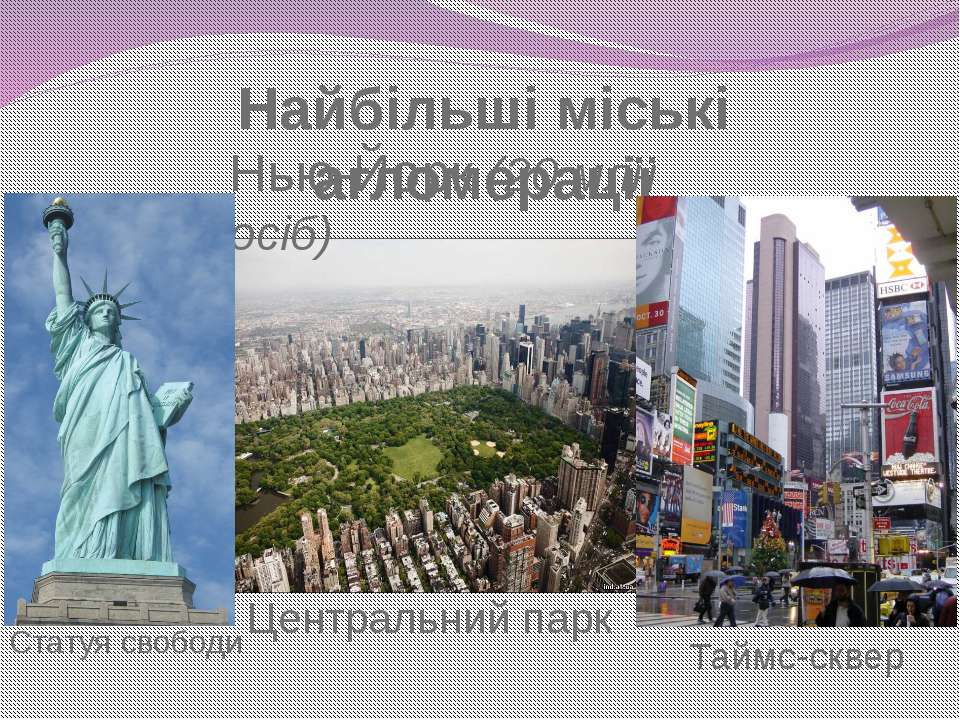 Найбільші міські агломерації Нью-Йорк (20 млн осіб) Центральний парк Статуя с...