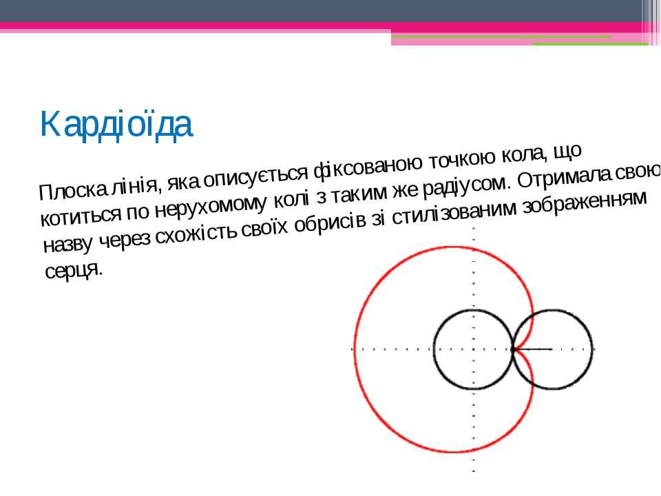 Кардіоїда Плоска лінія, яка описується фіксованою точкою кола, що котиться по...