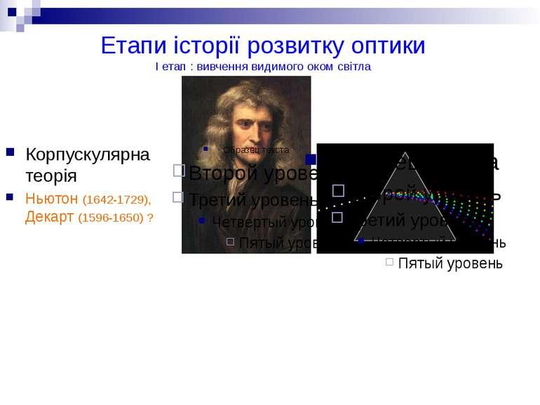Етапи історії розвитку оптики I етап : вивчення видимого оком світла Корпуску...