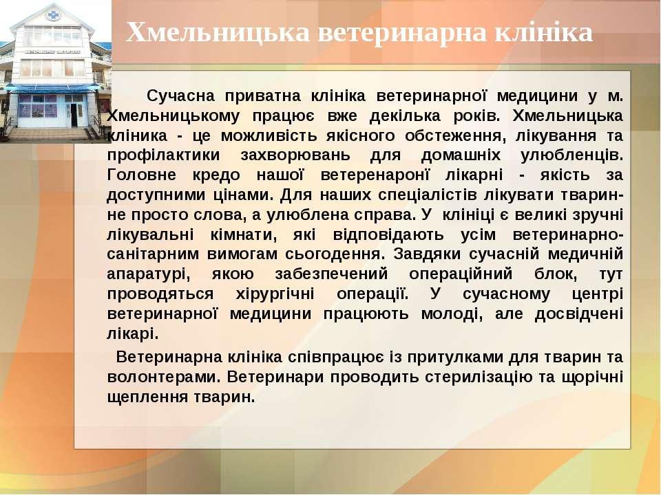 Хмельницька ветеринарна клініка Сучасна приватна клініка ветеринарної медицин...
