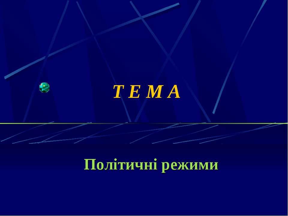Т Е М А Політичні режими