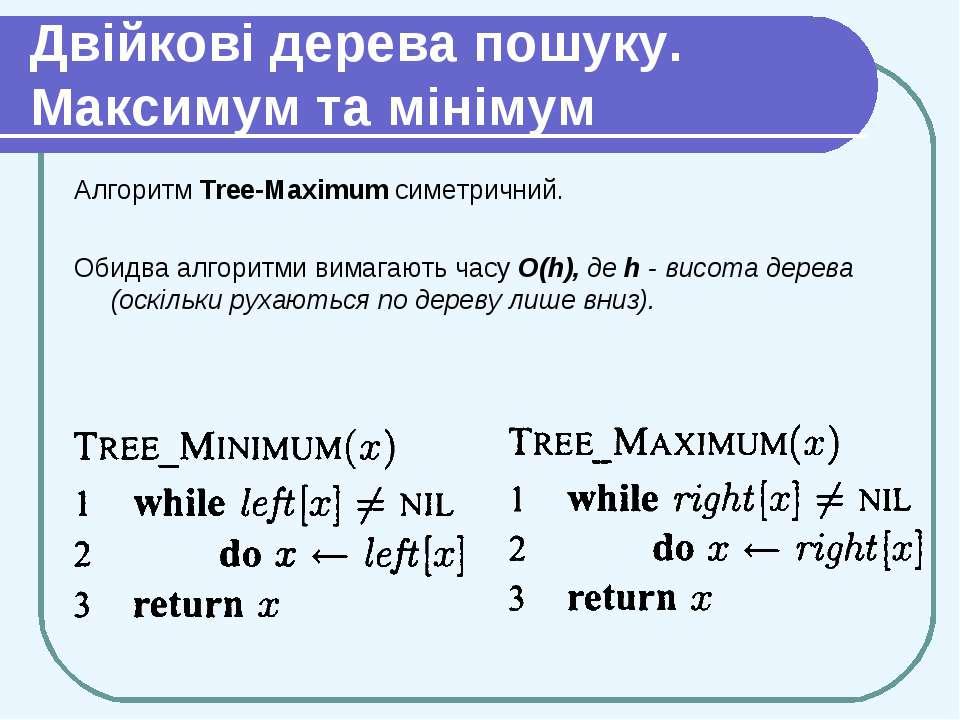 Двійкові дерева пошуку. Максимум та мінімум Алгоритм Tree-Maximum симетричний...