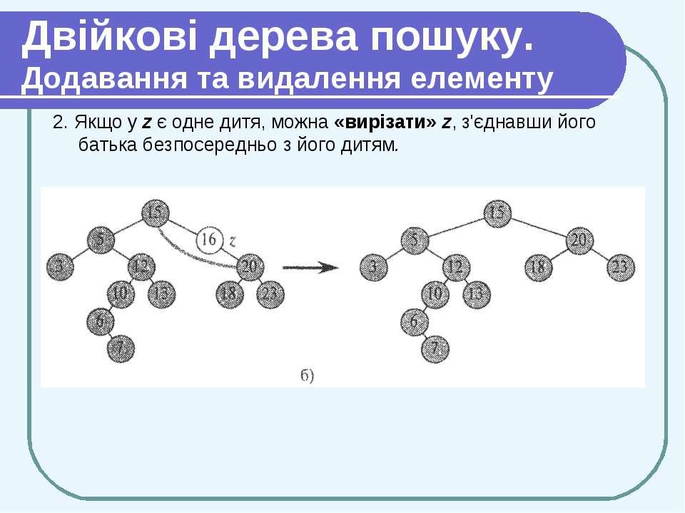 Двійкові дерева пошуку. Додавання та видалення елементу 2. Якщо у z є одне ди...
