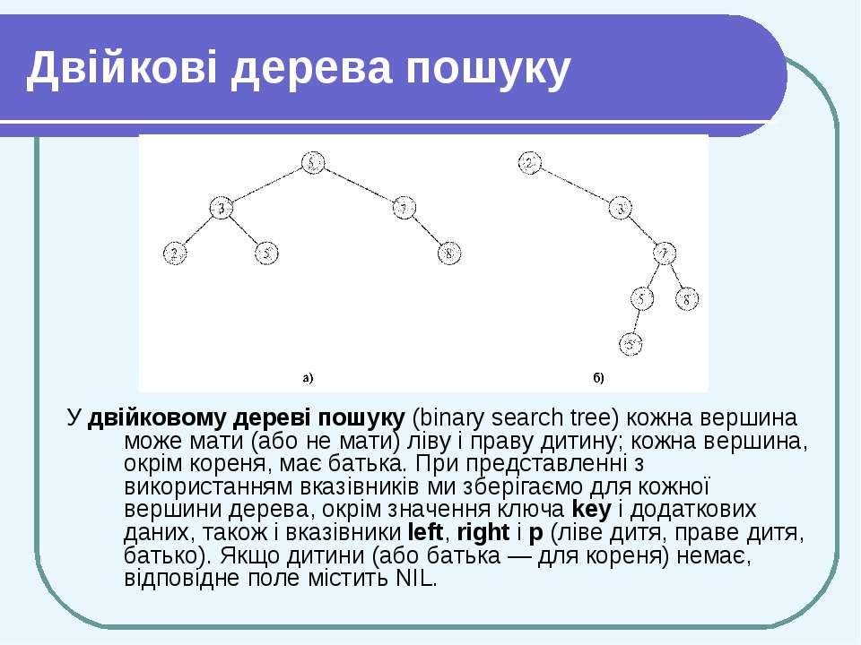 Двійкові дерева пошуку У двійковому дереві пошуку (binary search tree) кожна ...