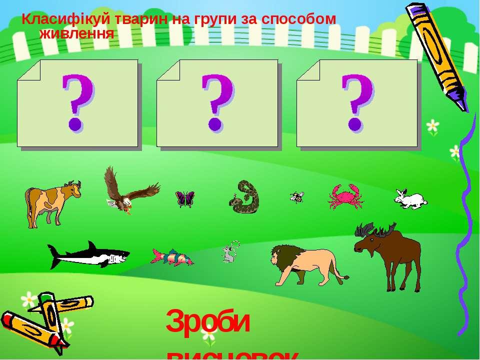 Класифікуй тварин на групи за способом живлення Зроби висновок…