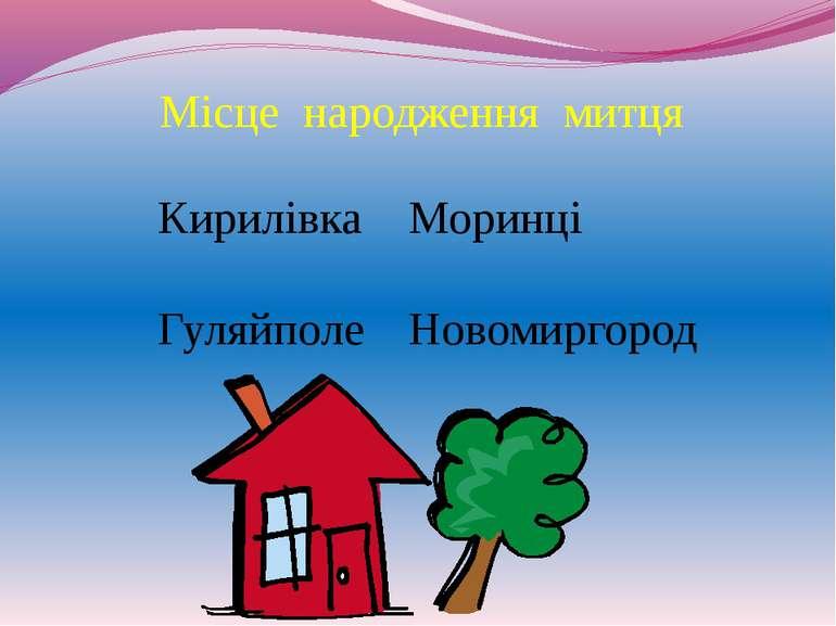 Місце народження митця Кирилівка Моринці Гуляйполе Новомиргород