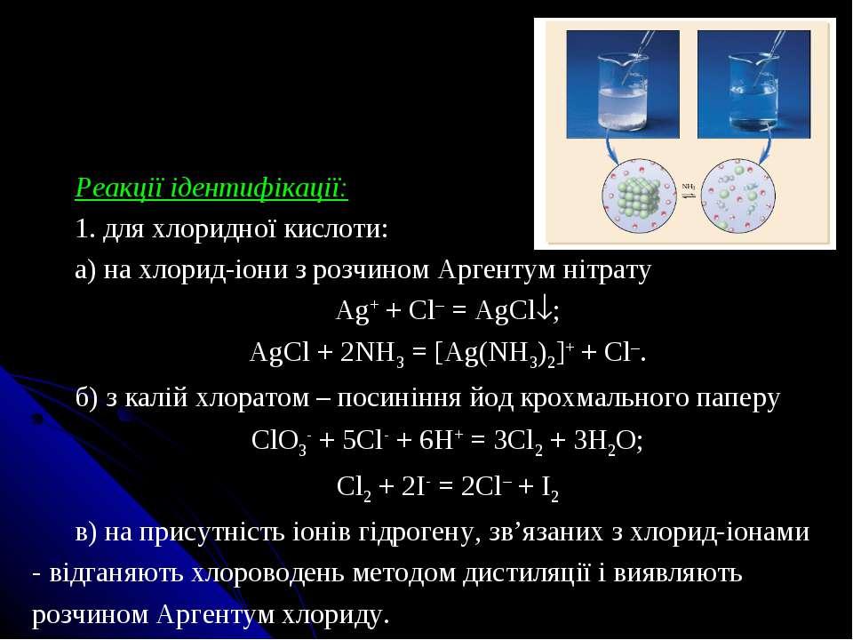 Реакції ідентифікації: 1. для хлоридної кислоти: а) на хлорид-іони з розчином...