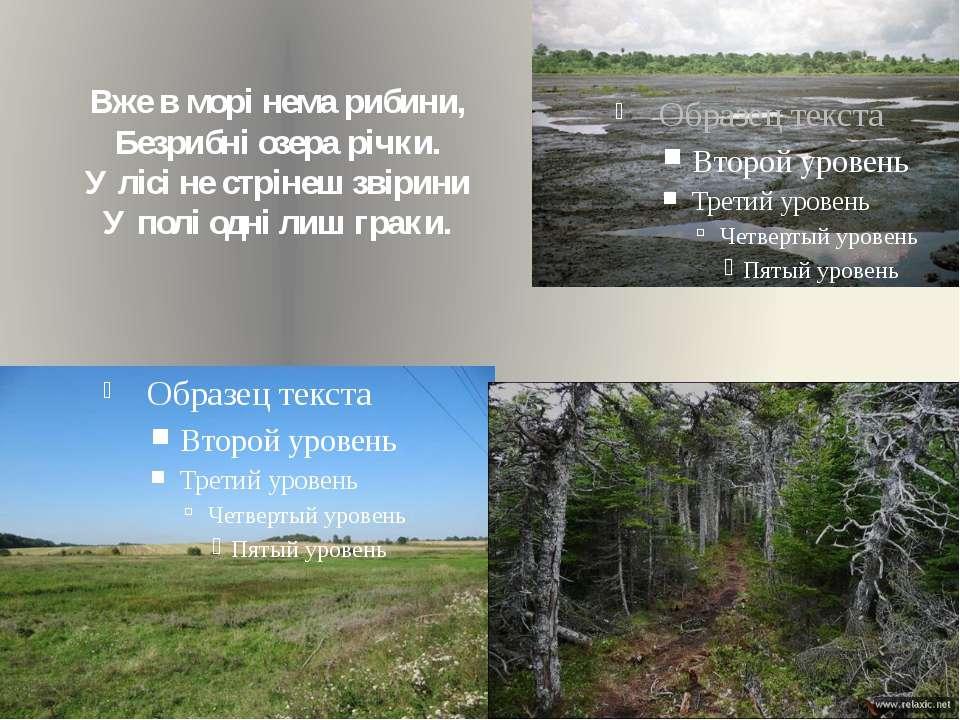 Вже в морі нема рибини, Безрибні озера річки. У лісі не стрінеш звірини У пол...