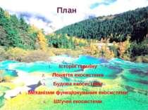 План Історія терміну Поняття екосистеми Будова екосистеми Механізми функціону...