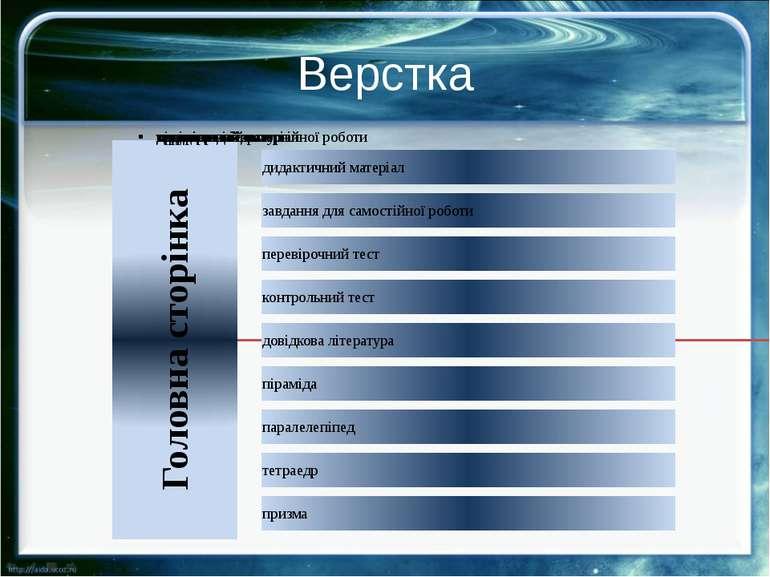 Верстка Перед тим, як починати верстку сторінок енциклопедії, потрібно підгот...