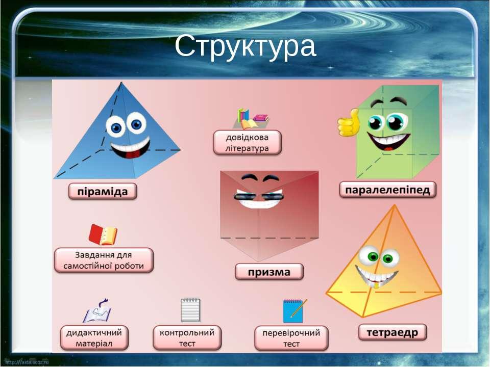 Структура Дидактичне наповнення навчального ресурсу складається з: Опису та п...