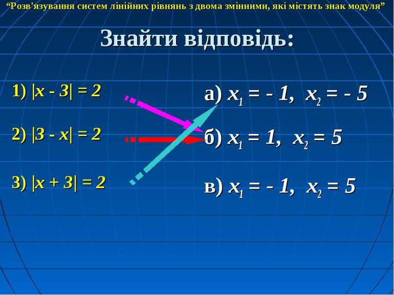 Знайти відповідь: 1) |x - 3| = 2 а) x1 = - 1, x2 = - 5 2) |3 - x| = 2 3) |x +...
