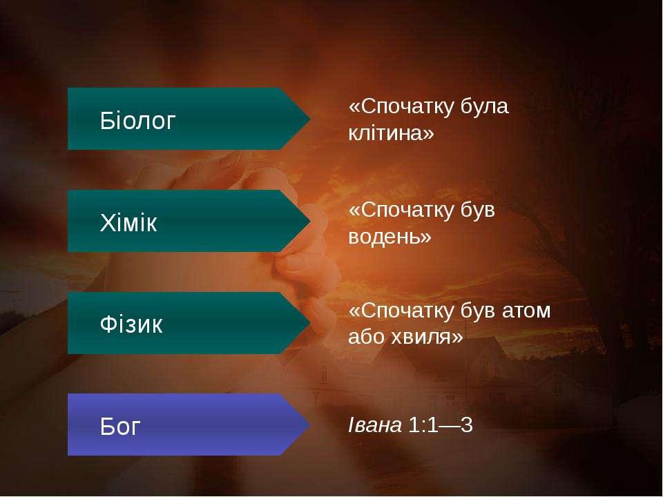 «Спочатку була клітина» «Спочатку був водень» «Спочатку був атом або хвиля» І...