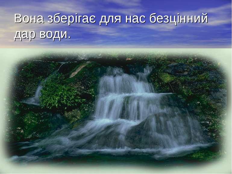 Вона зберігає для нас безцінний дар води.