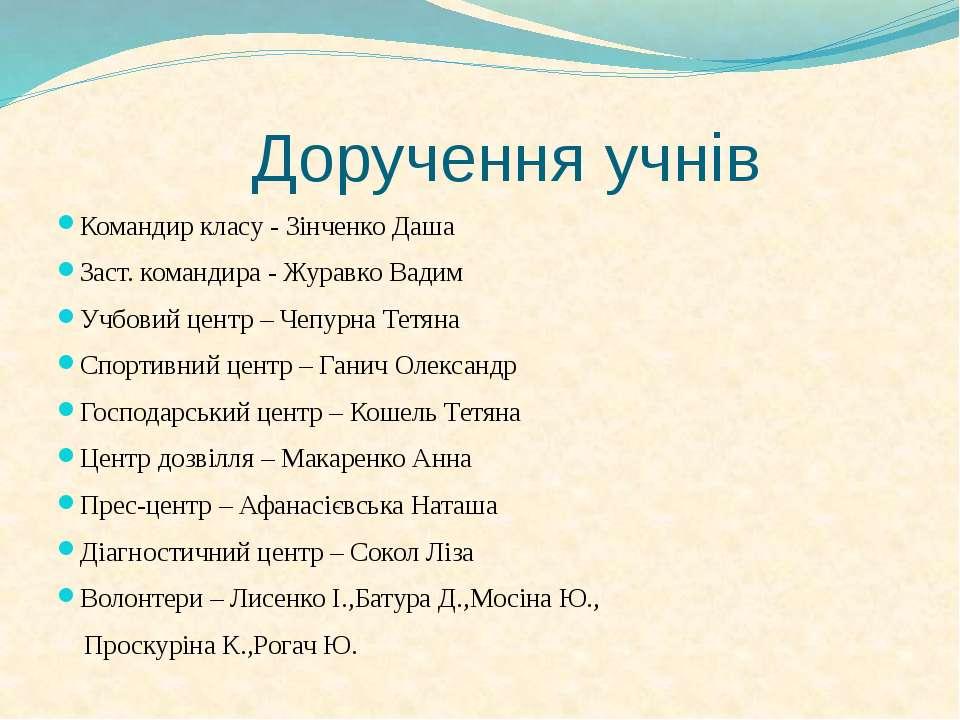 Доручення учнів Командир класу - Зінченко Даша Заст. командира - Журавко Вади...