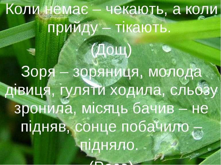 Коли немає – чекають, а коли прийду – тікають. (Дощ) Зоря – зоряниця, молода ...