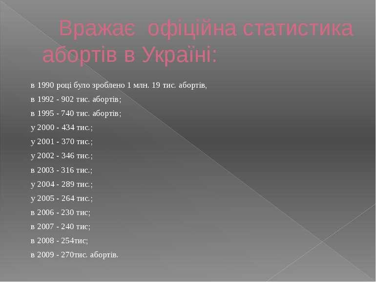 Вражає офіційна статистика абортів в Україні: в 1990 році було зроблено 1 млн...