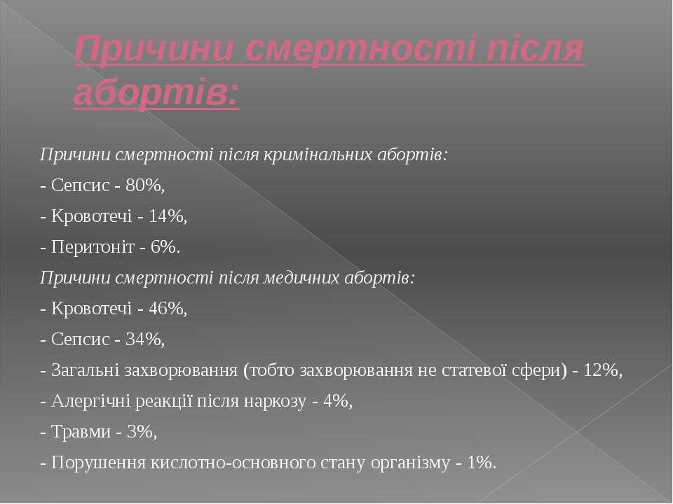 Причини смертності після абортів:  Причини смертності після кримінальних або...