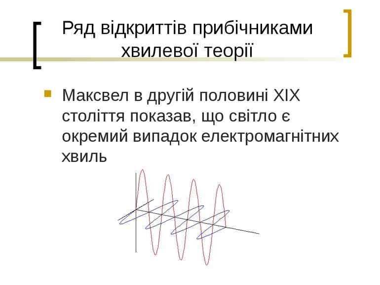Ряд відкриттів прибічниками хвилевої теорії Максвел в другій половині XIX сто...