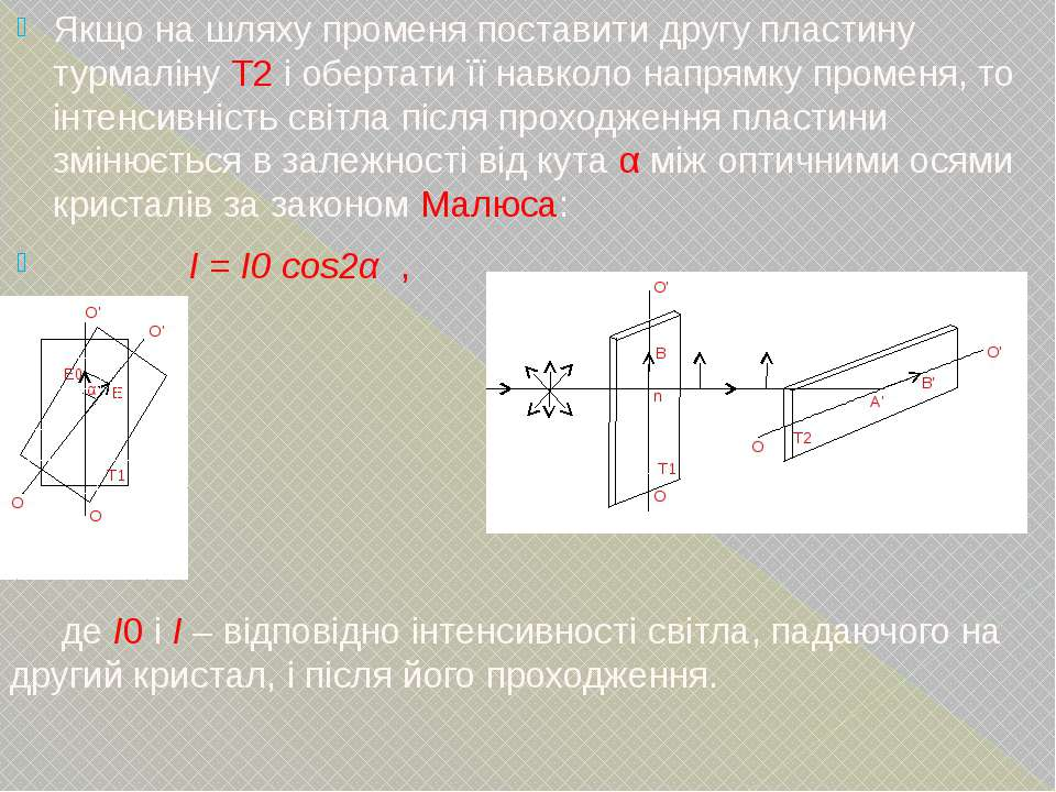 Якщо на шляху променя поставити другу пластину турмаліну Т2 і обертати її нав...
