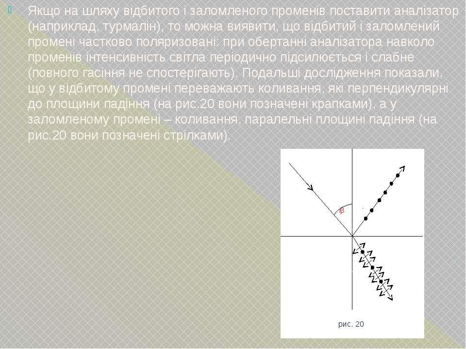 Якщо на шляху відбитого і заломленого променів поставити аналізатор (наприкла...