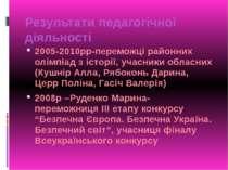 Результати педагогічної діяльності 2005-2010рр-переможці районних олімпіад з ...
