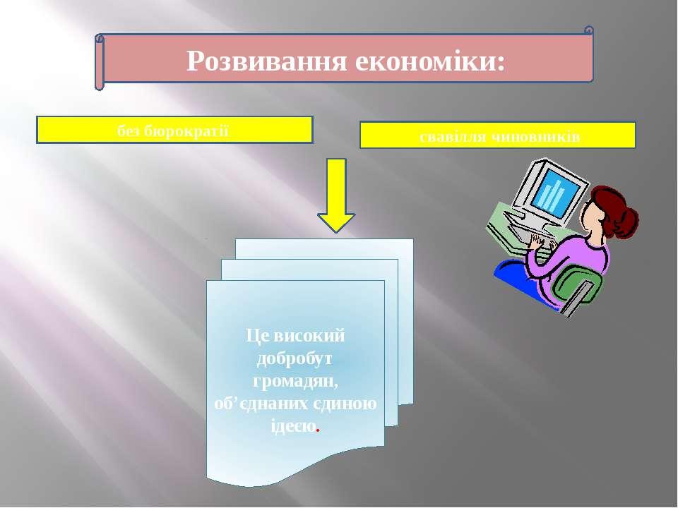 Розвивання економіки: без бюрократії свавілля чиновників Це високий добробут ...