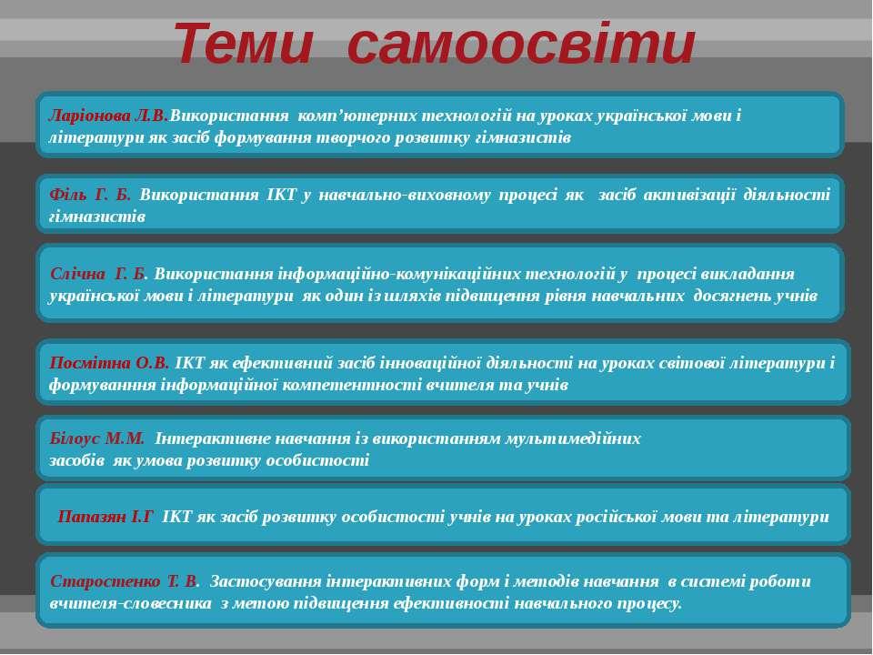 Ларіонова Л.В.Використання комп'ютерних технологій на уроках української мови...
