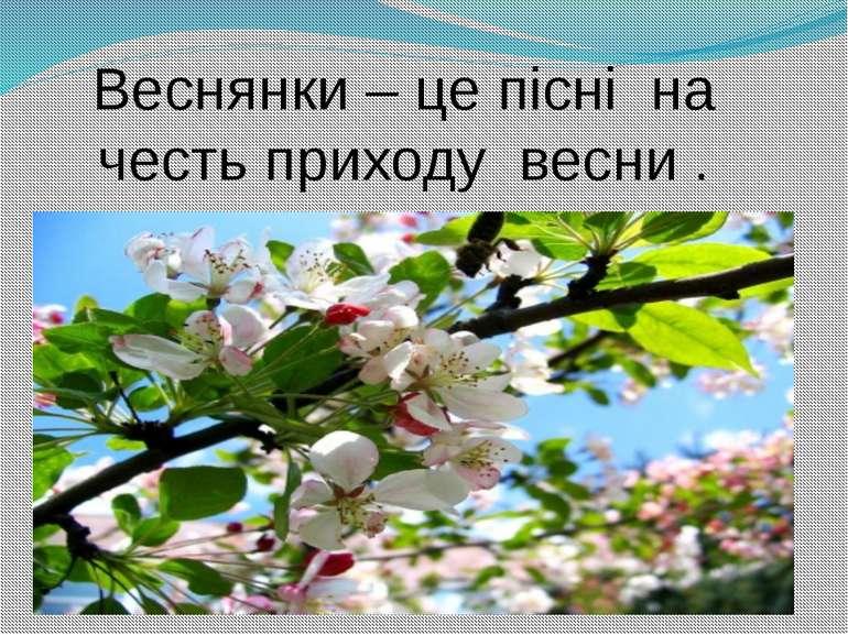Веснянки – це пісні на честь приходу весни .